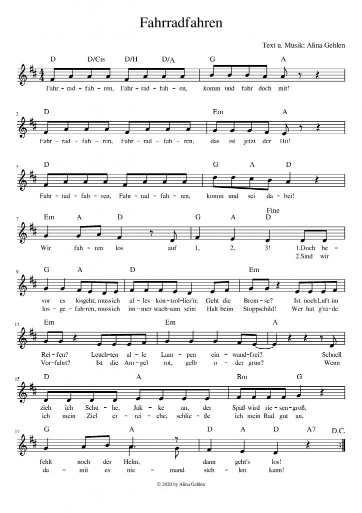 Lied vom Fahrradfahren Noten