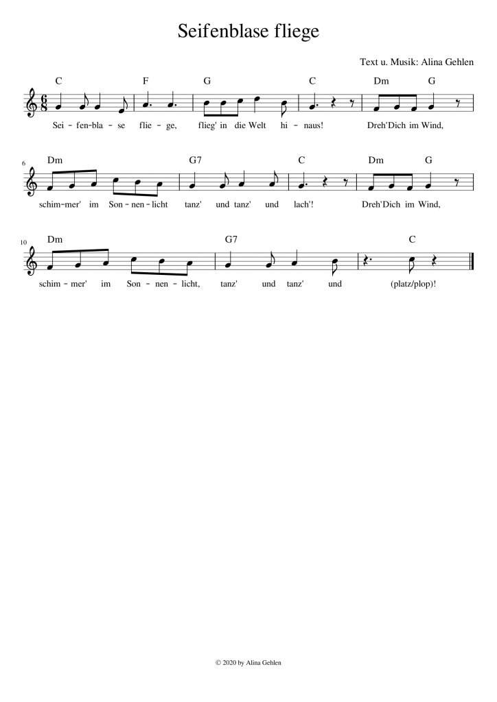 Seifenblase fliege / Seifenblasen-Tanz Kita Kindergarten Kinderchor Kreistanz Pustefix Kinderlied