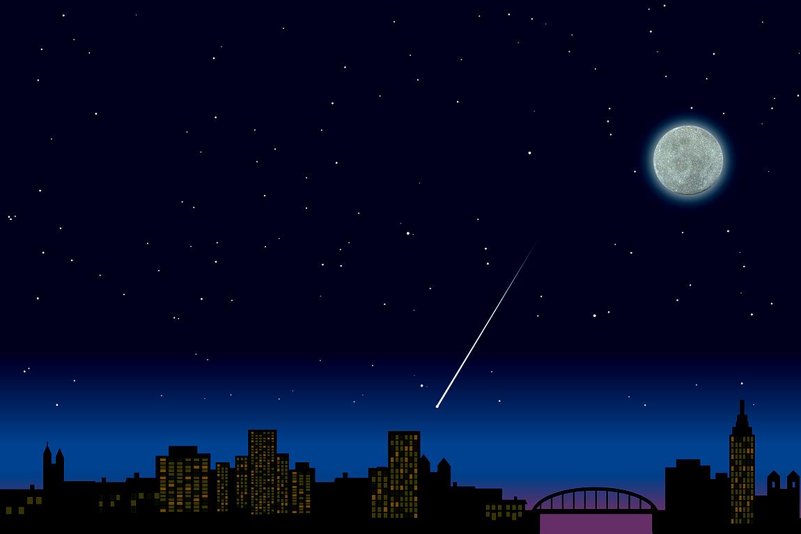 Sternschnuppe kleiner Stern am Himmelszelt Nacht Wunsch