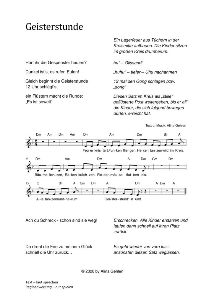 Kinderlied Kreisspiel Studhlkreis Geisterstunde Mitternacht Hexen Walpurgisnacht Helloween Grusel Gespenst Geist